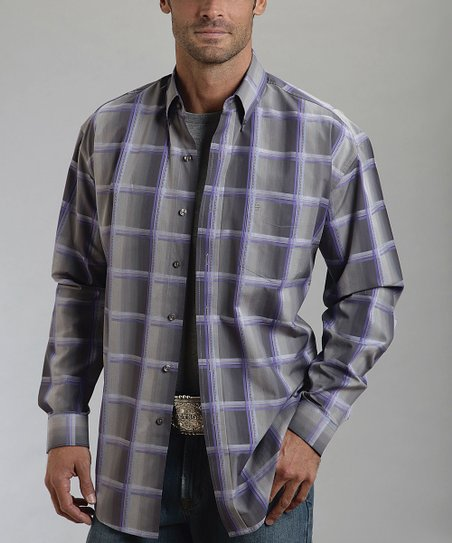 Gray & Purple Plaid Button-Up - Men