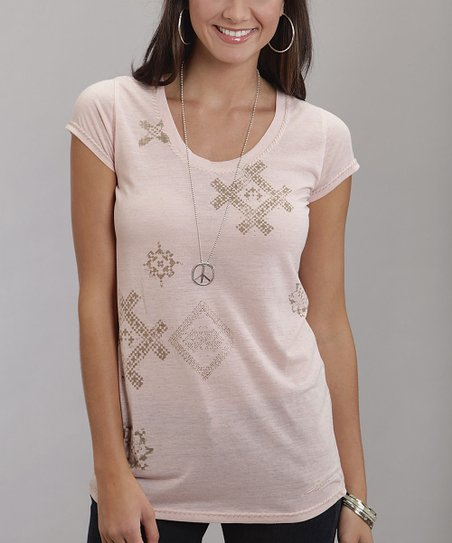Pink Tribal Stitch Print Tee - Women & Plus