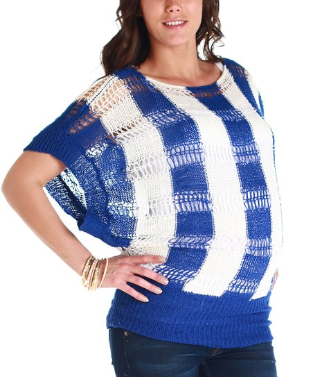 Blue & White Stripe Maternity Dolman Sweater