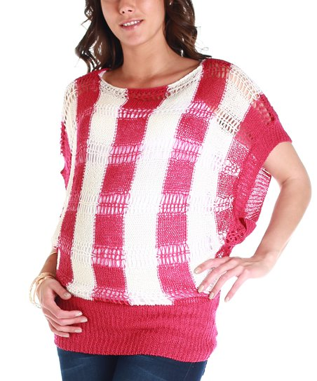 Magenta & White Stripe Maternity Sweater