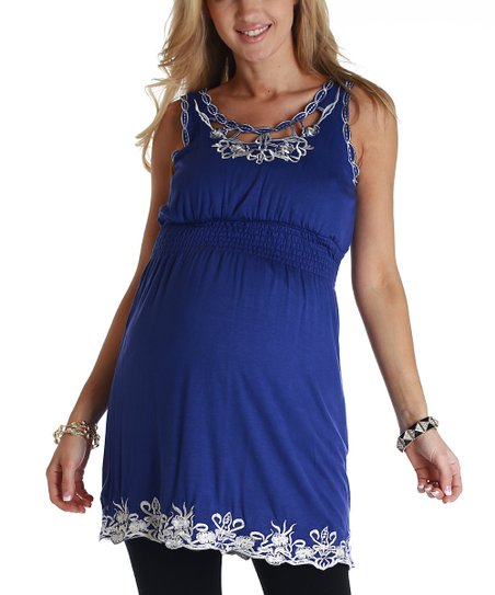 Royal Blue Embroidered Maternity Tunic