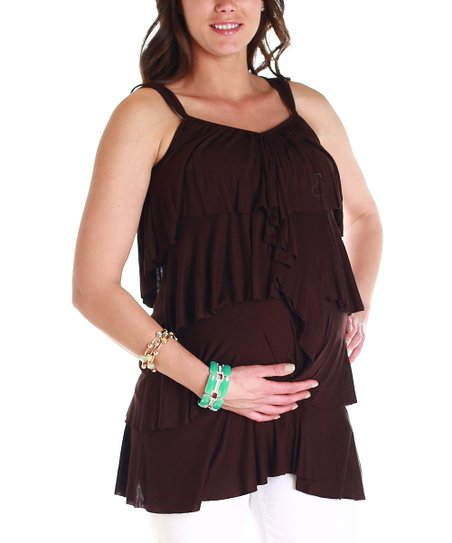 Brown Tier Maternity Tank
