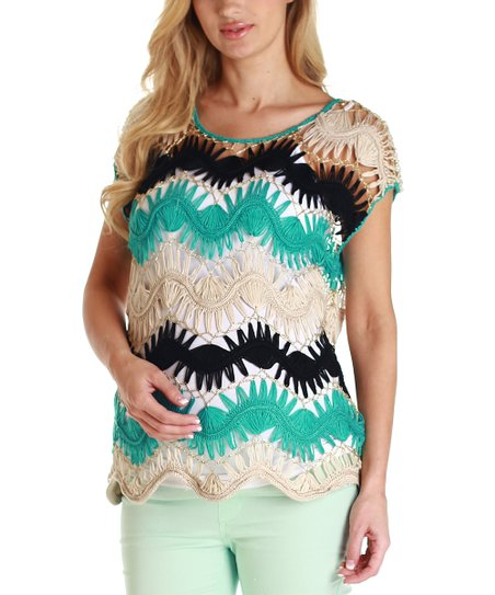 Beige & Aqua Zigzag Knit Maternity Top - Women