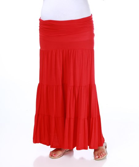 Red Bohemian Under-Belly Maternity Maxi Skirt