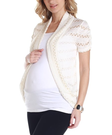 PinkBlush Cream & Gold Maternity Short-Sleeve Open Cardigan