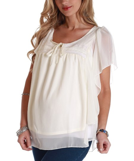 PinkBlush Ivory Tie-Front Maternity Cape-Sleeve Top