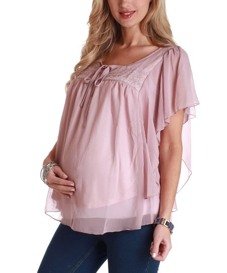 PinkBlush Blush Pink Tie-Front Cape-Sleeve Maternity Top