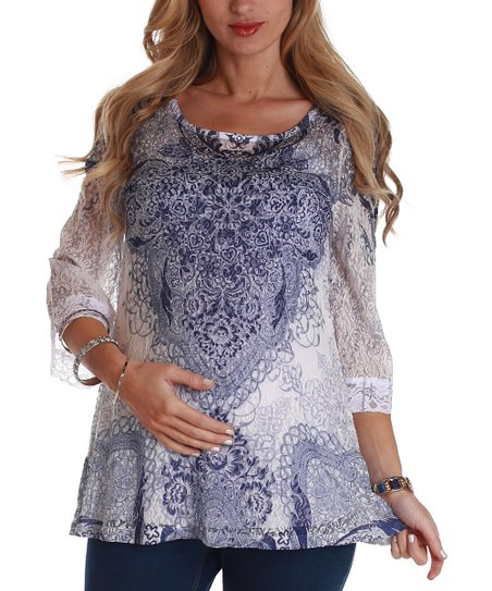 Blue & White Bohemian Sheer Maternity Top