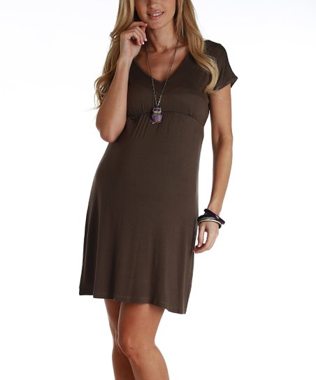 Mocha Short Sleeve Maternity Dress