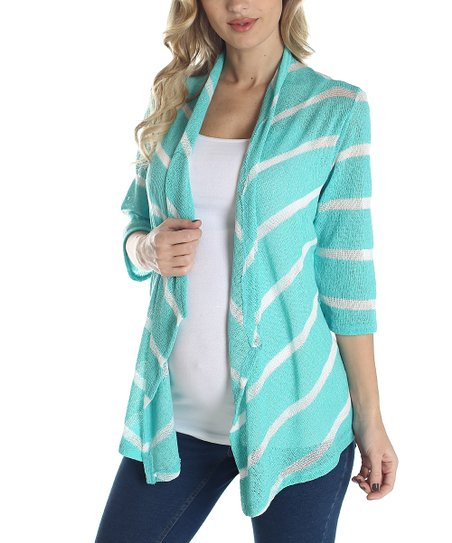 Mint Green & White Stripe Knit Maternity Open Cardigan