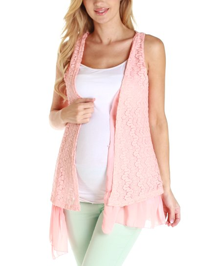 Pink Blush Coral Crocheted Maternity Vest