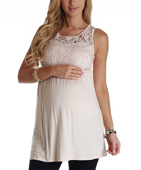Pale Pink Lace Maternity Tank