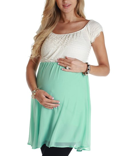 Mint Green Chiffon Maternity Cap-Sleeve Top
