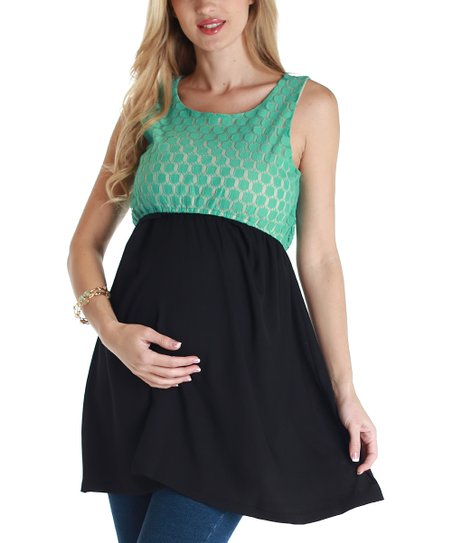 Aqua & Black Lace Maternity Tunic - Women