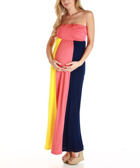 Coral & Black Color Block Maternity Maxi Dress