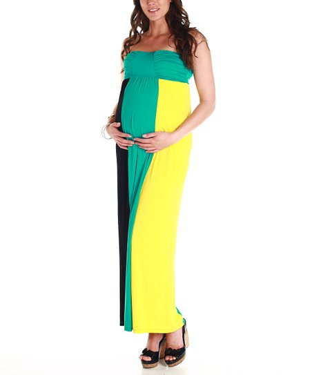 Turquoise & Black Maternity Strapless Maxi Dress - Women