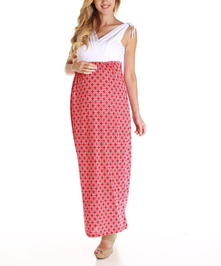White & Red Maternity Maxi Dress