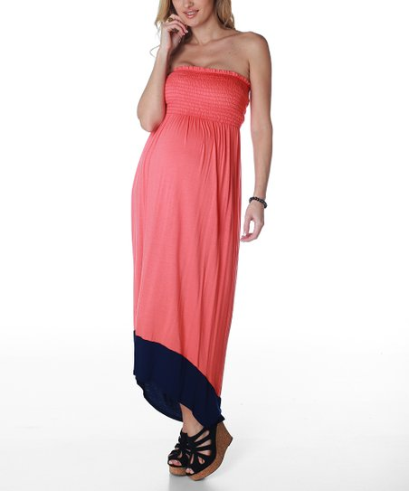 Coral & Navy Strapless Maternity Hi-Low Dress