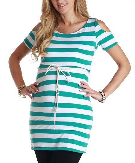 Teal & White Stripe Maternity Belted Tunic
