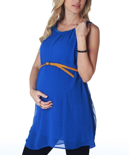 Royal Blue Chiffon Maternity Belted Tunic