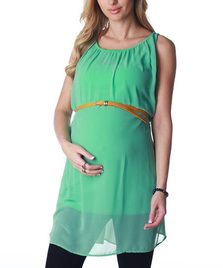 Mint Green Chiffon Maternity Belted Tunic