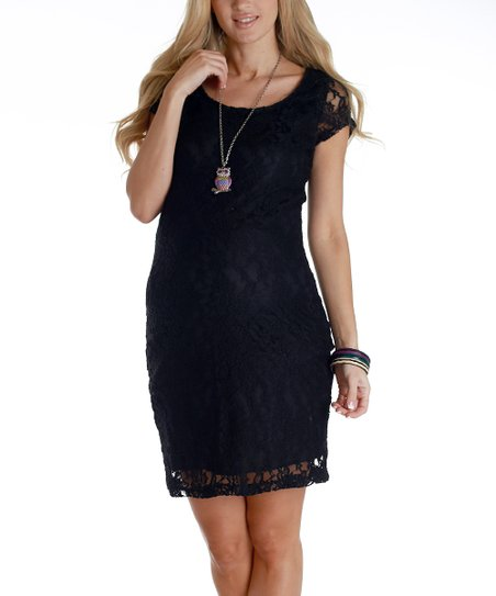 Black Lace Maternity Dress - Women