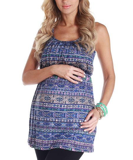 Blue Tribal Maternity Tunic