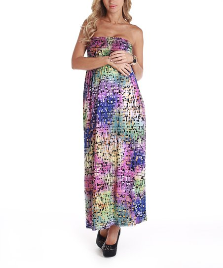 Purple & Green Smocked Maternity Maxi Dress