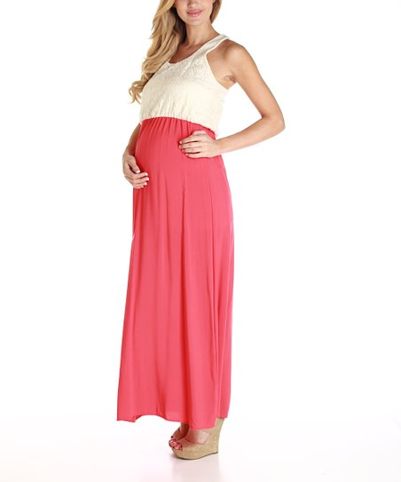 PinkBlush Coral Crocheted Maternity Maxi Dress - Women