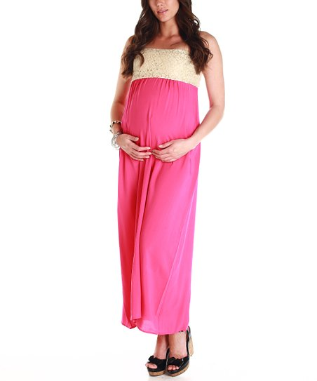 Pink Crocheted Strapless Maternity Maxi Dress