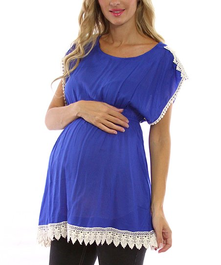 PinkBlush Blue Crochet Maternity Tunic