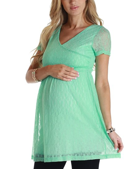 Mint Green Lace Maternity Tunic