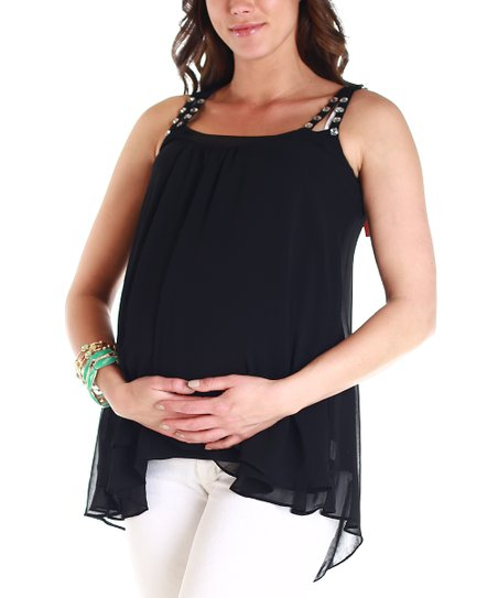 Black Chiffon Maternity Hi-Low Tank Top - Women