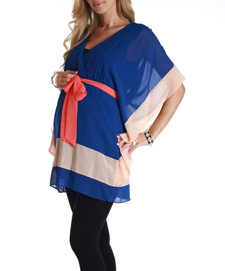 Royal Blue & Peach Chiffon Maternity Cape-Sleeve Tunic