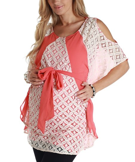 Coral Crocheted Maternity Cutout Tunic