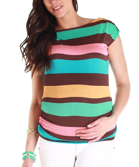 Brown & Teal Stripe Maternity Top