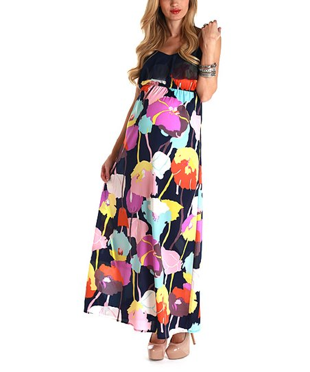 Navy Blue Floral Maternity Maxi Dress - Women
