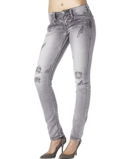 Gray Distressed Aiko Skinny Jeans