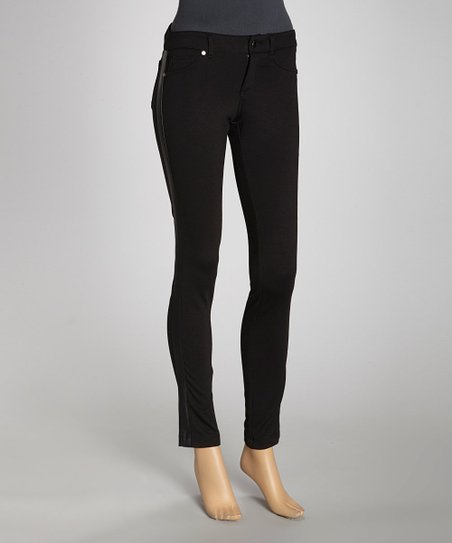Black Stripe Panel Ponte Jeggings