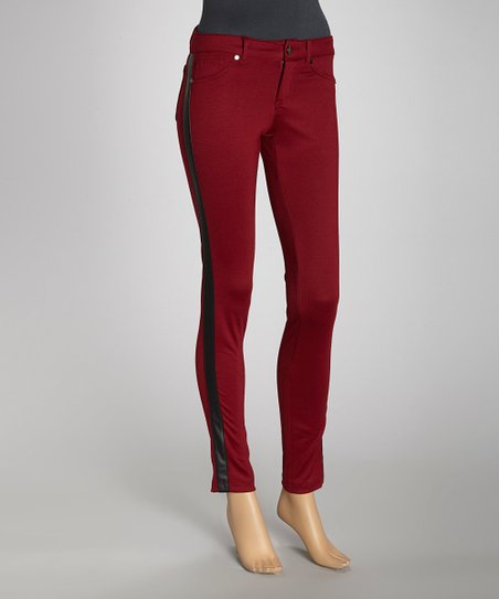Wine & Black Stripe Panel Ponte Jeggings