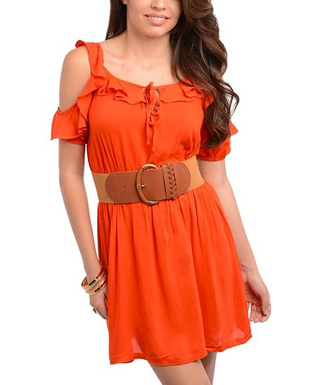 Orange Ruffle Cutout Dress