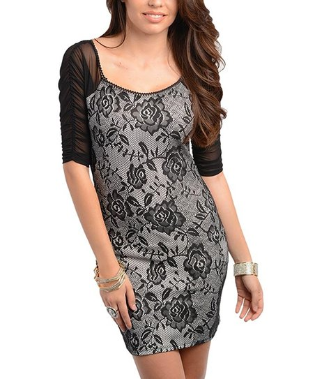 Black Lace Print Dress