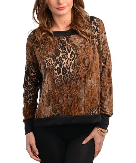 Brown Cheetah & Cable-Knit Print Top