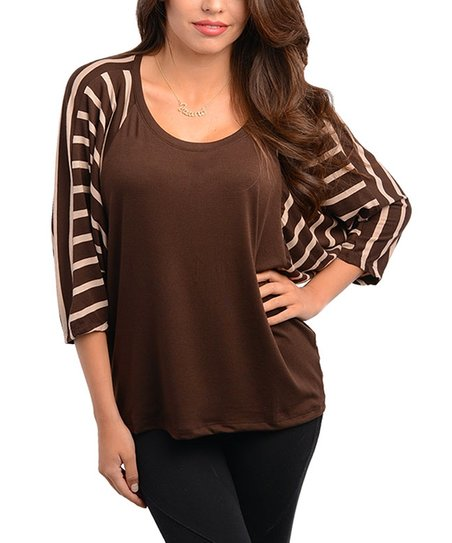 Cocoa Stripe Cape-Sleeve Top
