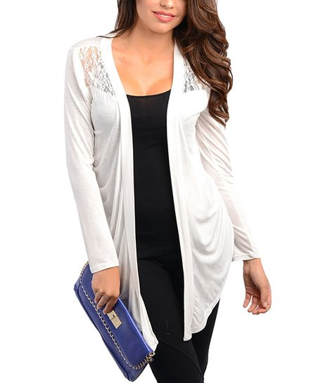 Ivory Lace Open Cardigan