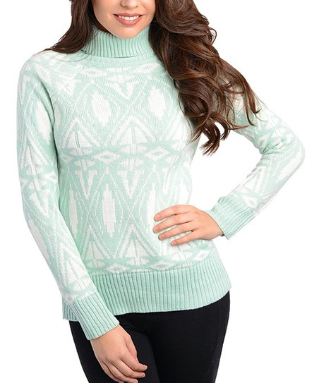 Mint & White Fair Isle Turtleneck