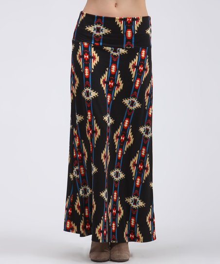 Coffee & Orange Tribal Maxi Skirt