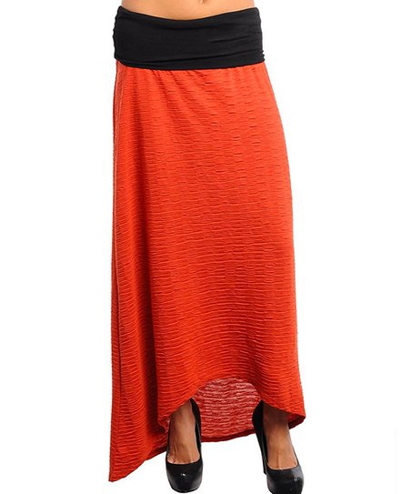 Rust Textured Hi-Low Skirt