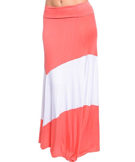 Coral & White Thick Stripe Maxi Skirt - Women
