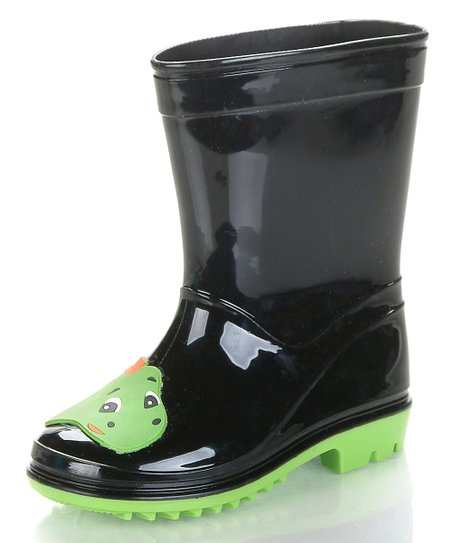 Black & Neon Green Dinoya Rain Boot